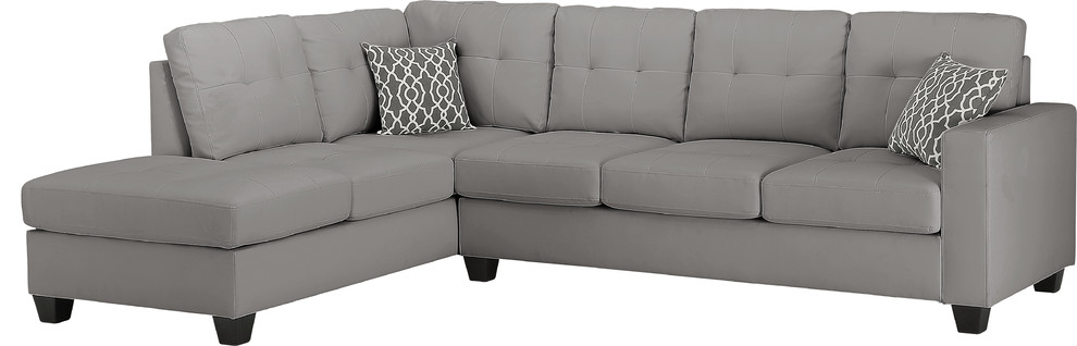 Amazing Rebecca Leatherette Reversible Sectional Sofa With Ottoman Gray Pdpeps Interior Chair Design Pdpepsorg
