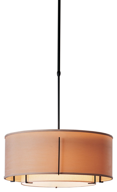 Hubbardton Forge (139605) 3 Light Exos Double Shade Pendant.
