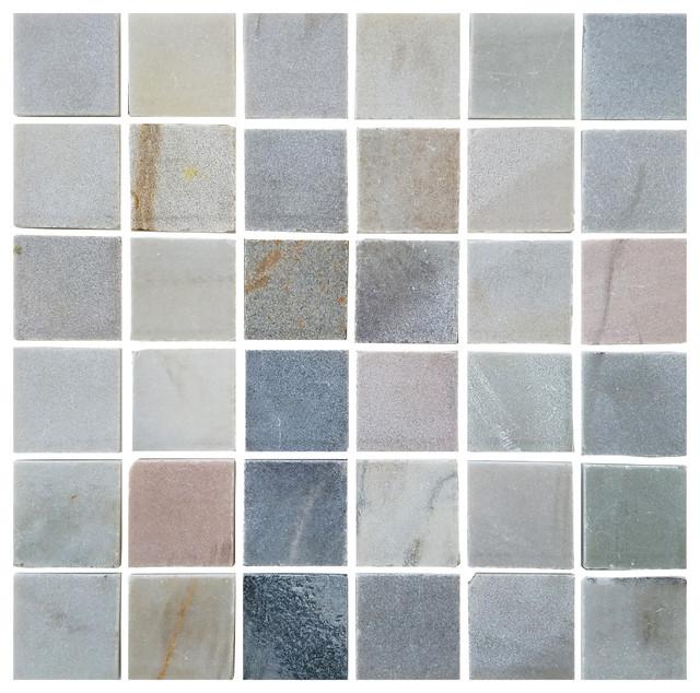 "12""x12"" Stone Desert Gray Square Tile Mosaic Bathroom Backsplash, Single Listing"