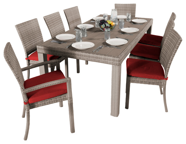 woven outdoor dining set cantina red transitional outdoor dining sets
