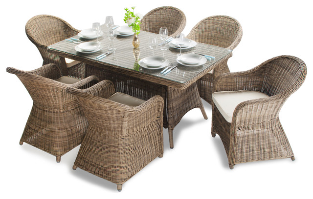 6 seater rattan garden furniture set asha purley with cushions contemporary