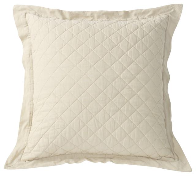 Cream Diamond Pattern Linen Quilted Euro Sham