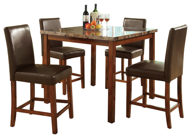 5 Piece Counter Height Dining Set Faux Marble Square Table  : dining sets from www.houzz.com size 640 x 462 jpeg 72kB
