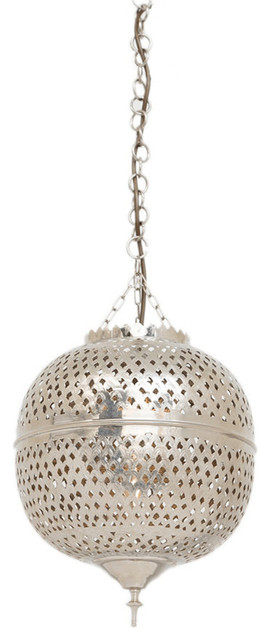 Eclat Brass and Nickel Moroccan Silver Pendant, 25 x 25 x 42cm