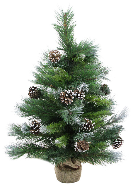 frosted glacier pine artificial christmas tree in burlap with pine cones 2 - Christmas Tree With Pine Cones