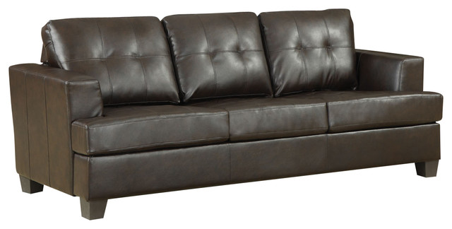 Acme Diamond Bonded Leather Sofa Sleeper, Brown Contemporary Sleeper Sofas