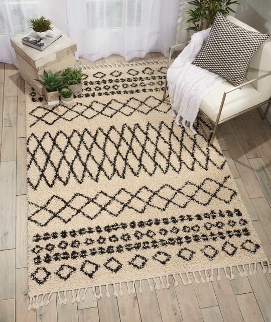 "Nourison Moroccan Marrakesh Shag Area Rug, Cream, 5'3""x7'11"""