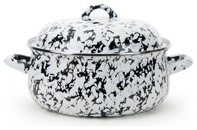 BL31 Black Swirl Pattern, Enamelware Dutch Oven