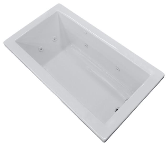 "Venzi Villa 32""x66"" Rectangular Whirlpool Jetted Bathtub, Left Drain Placement."