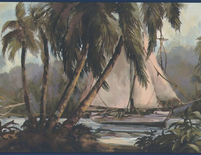 Sail Boats In The Jungle Palm Trees Vintage Wallpaper Border Paint By Design