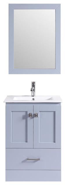 24 Redondo Single Modern Bathroom Vanity With Integrated Sink, Gray.