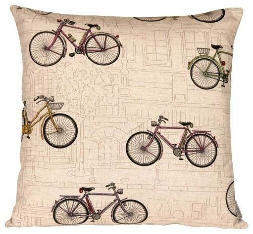 Vintage Style Bicycle Throw Pillow Contemporary Decorative Pillows