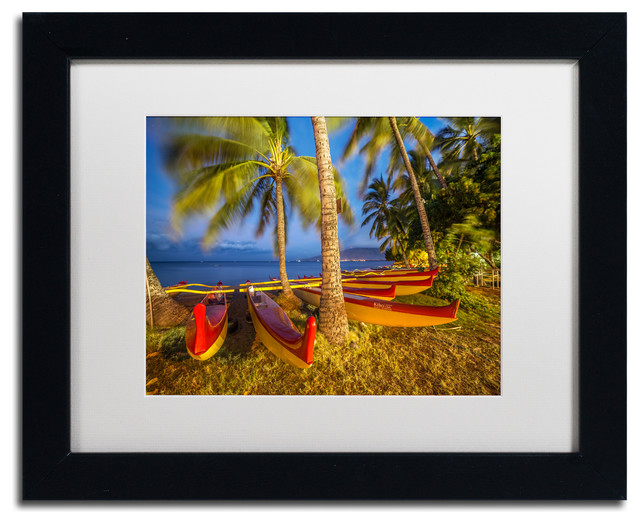 Pierre Leclerc 'Maui Outriggers' Matted Framed Art, Black Frame, White, 14x11