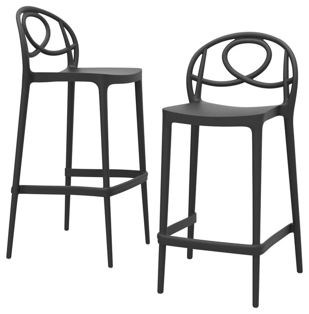 Etoile Outdoor Bar Stools, Anthracite, High, Set of 2