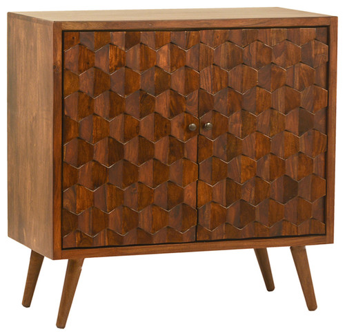 Modern Hexagon Wood Side Cabinet