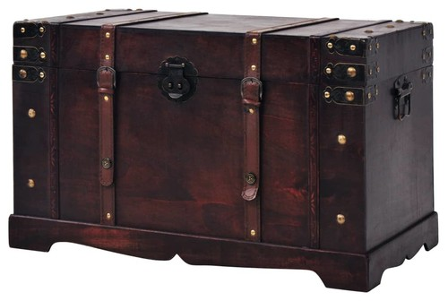 vidaXL Treasure Chest 26 Wood Vintage Antique Storage Trunk Organizer Box