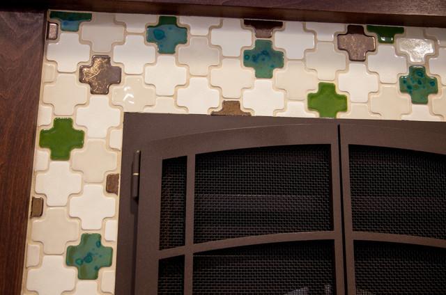 Moroccan Teak Fireplace Mediterranean Bedroom
