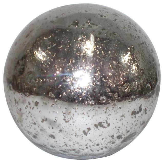 Metallic Silver Mercury Glass Sphere Balls Set Of 2