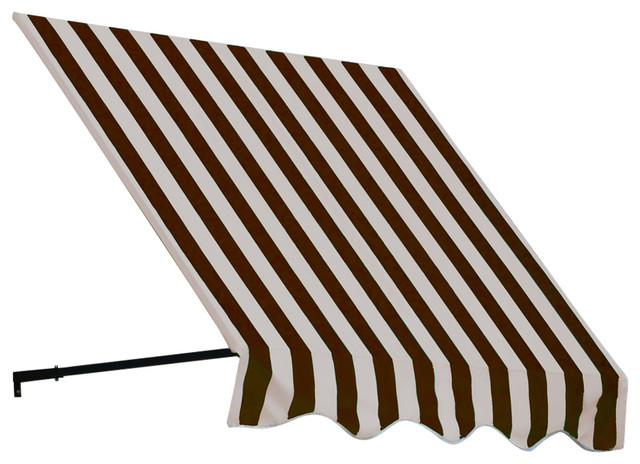 "6&x27; Dallas Retro Window Awning, 44"" Hx36"" D, Brown And Tan."