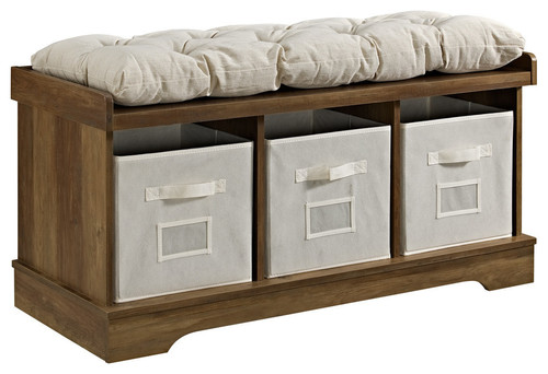 42 Wood Storage Bench With Totes and Cushion, Rustic Oak