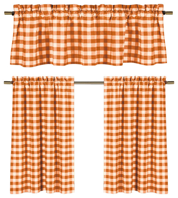 Orange White Gingham Kitchen Curtain Set, 3 Piece