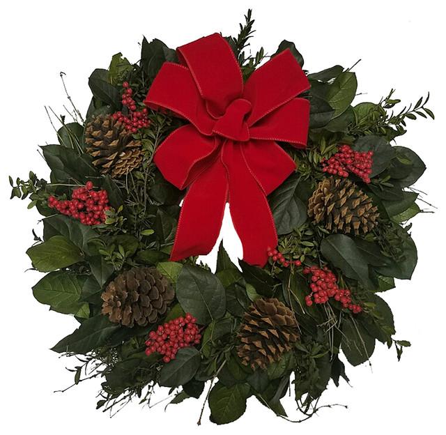 "Holiday Spirit Wreath, 22""."
