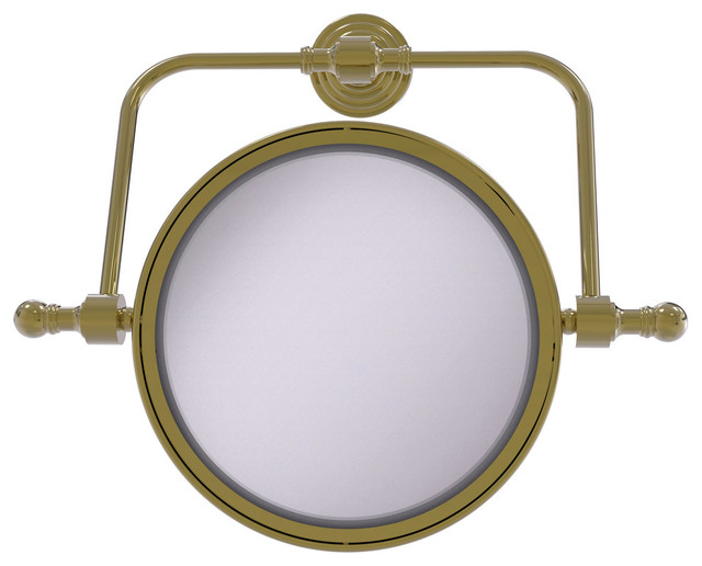 Retro Wave Collection Wall Mounted Swivel Make Up Mirror, Unlacquered Brass.