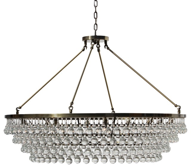 Currey And Company Stratosphere: Celeste XL Glass Drop Crystal Chandelier, Antique Brass