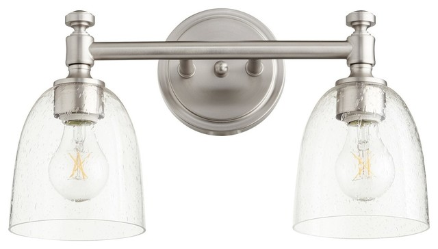 Quorum Rossington Vanity 5122-2-265, Satin Nickel W/ Clear/Seeded