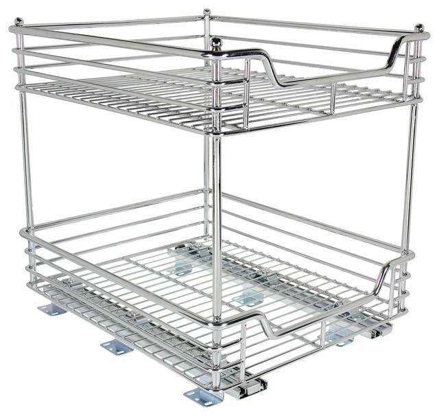 """New Cabinet Organizer Sliding Kitchen Under Storage Drawer: 2-Tier 14.5"""" Glidez Sliding Under-Cabinet Organizer"""