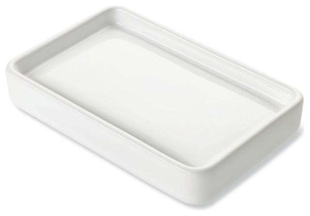 White Ceramic Soap Dish Contemporary Dishes Holders By Thebathoutlet