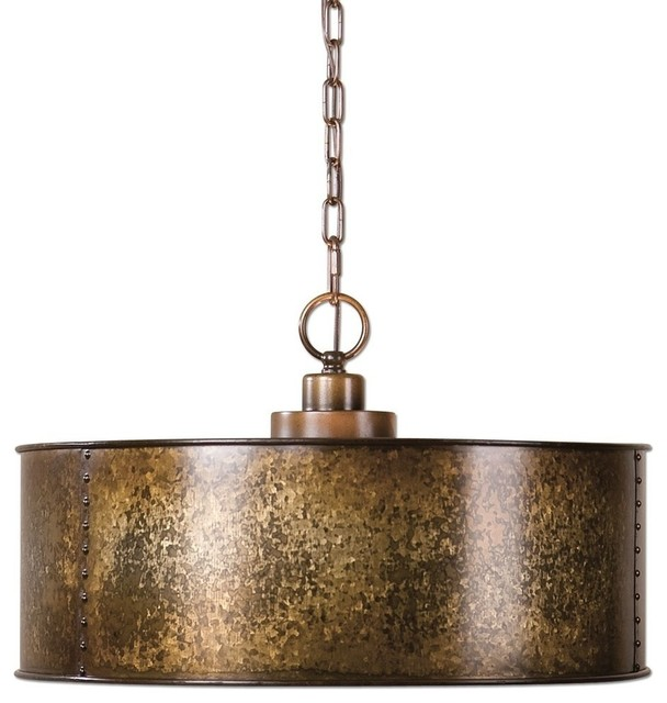 Antiqued gold metal drum pendant 3 light distressed antiqued gold metal drum pendant 3 light distressed contemporary pendant lighting mozeypictures Images