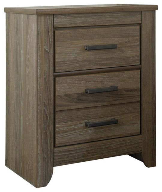 Zelen Two Drawer Night Stand, Warm Gray.