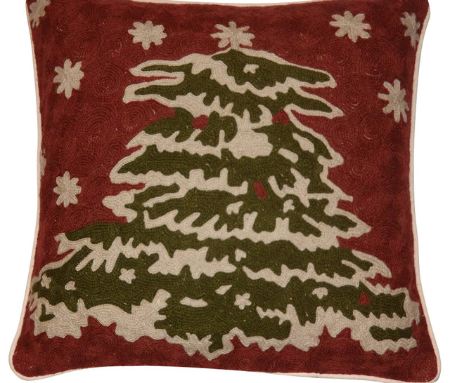 Shop Houzz Crewel Fabric World by MDS Christmas Tree Embroidered Pillow Cover, 18