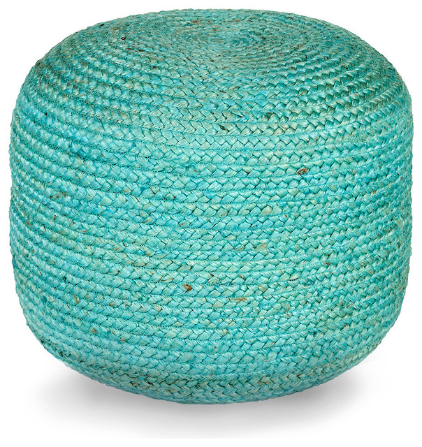 Bliss Home Amp Design Jute Pouf Teal Footstools And