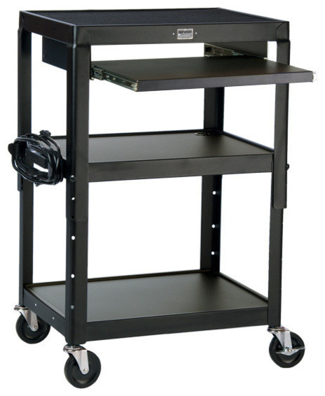 Adjustable Height Steel Computer Cart Transitional Office Carts And Stands