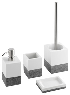 White And Grey Bathroom Accessories Set