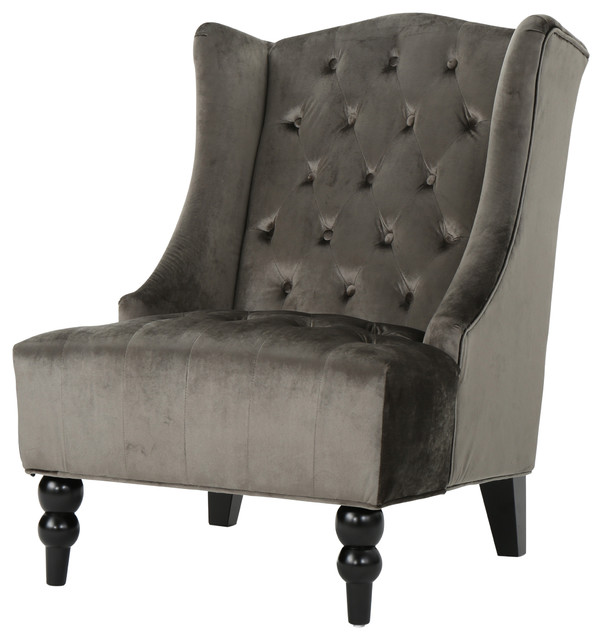Talisa Winged High Back Tufted New Velvet Club Chair, Gray