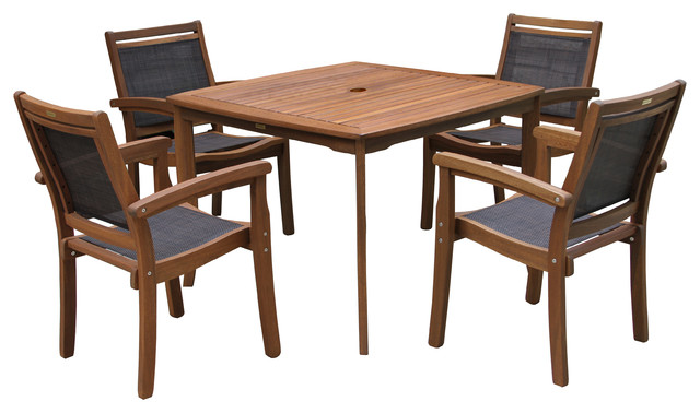 Fine 5 Piece Sling And Eucalyptus Dining Set Lamtechconsult Wood Chair Design Ideas Lamtechconsultcom