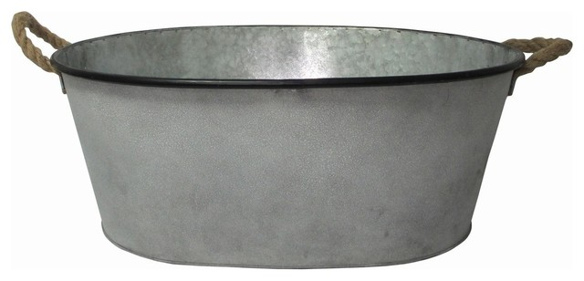 Galvanized Metal Oval Bucket.