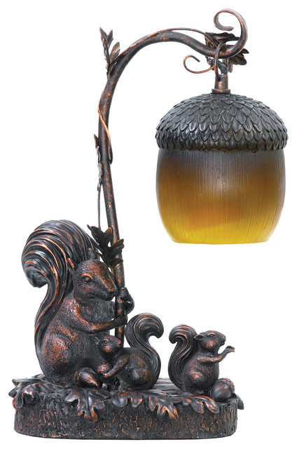 Squirrel Acorn Mini Accent Table Lamp.