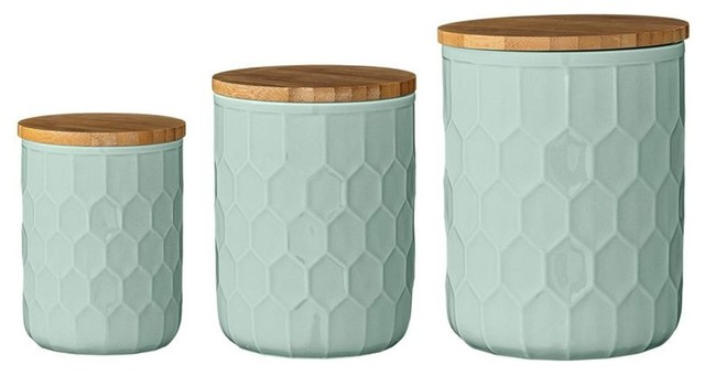3 Piece Jar Set With Bamboo Lids, Mint