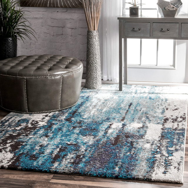 Winter Abstract Area Rug, Blue, 5'x8'