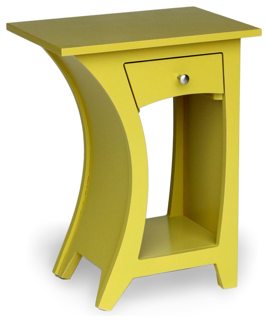 Curved Side Table, Reversible With Drawer   DS4015 Eclectic Side Tables And