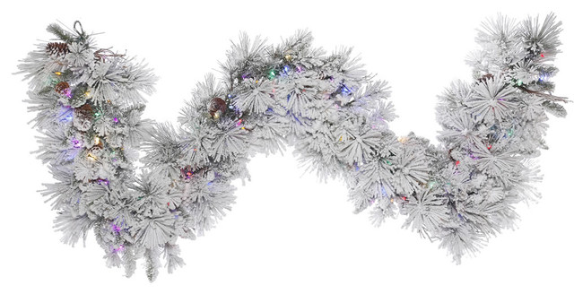 "9&x27;x18"" Flocked Alberta Cone Garland, 150 Led, Multi-Colored."