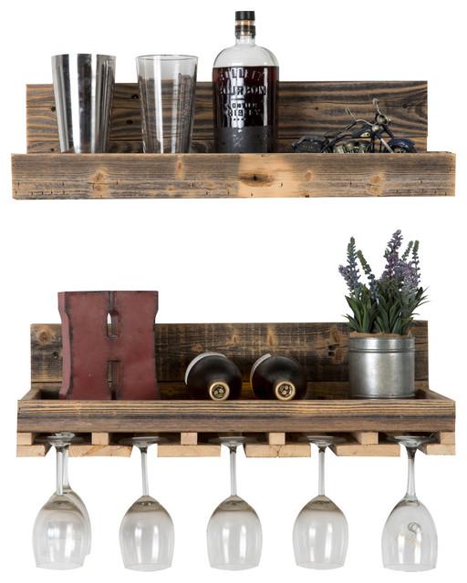 "Reclaimed Wood Floating Wine Racks, Set of 2, 6""x24""x10"""