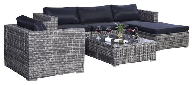 6 Piece Furniture Set Aluminum Patio Sofa Pe Rattan Couch Gray 2 Set