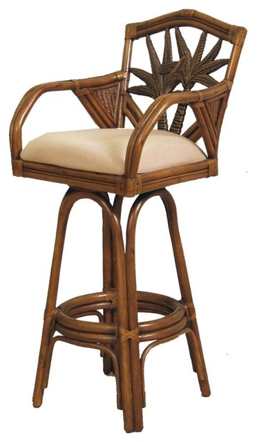 Indoor Swivel Rattan Wicker 30 in Bar Stool TC Antique  : tropical bar stools and counter stools from www.houzz.com size 372 x 640 jpeg 46kB