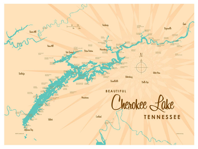 Lakebound Cherokee Lake Tennessee Map Art Print - Contemporary ... on