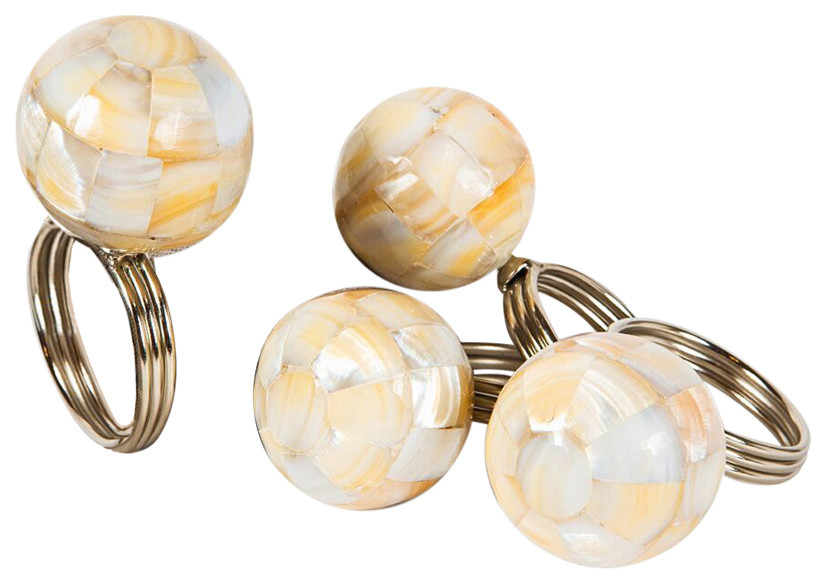 Mother Of Pearl Elegant Ball Metal Napkin Rings Set Of 4 Contemporary Napkin Rings By Xia Home Fashions